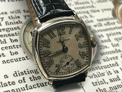 VINTAGE HAMILTON ART DECO WATCH - 14k white GOLD FILLED  1920s 1930s noveau