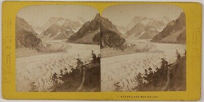 Chamonix Mer de Glace Montenvers France Photo Stereo Th1n22 Vintage Albumine