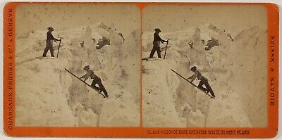 Crevasse Mont-Blanc Suisse Photo Charnaux Stereo PL28Th1n30 Vintage Albumine