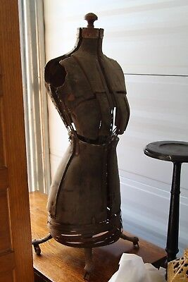 Antique late 1800s primitive 3' cardboard cast iron dress form sewing mannequin