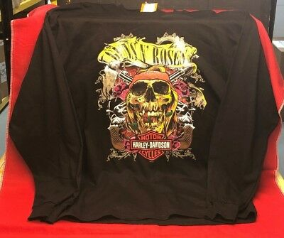 145f508801b Guns N Roses Harley-Davidson Axel Skull Logo Black Men s Long Sleeve Shirt  Xl