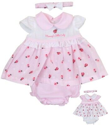 BabyPrem Baby Girls Pink Dress Set Summer Outfit Newborn 0-3 and 3-6m
