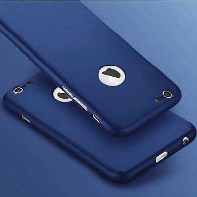 For iPhone 6 Plus/6s Plus 360° Tempered Glass + Dark Blue Hard Back Case Cover