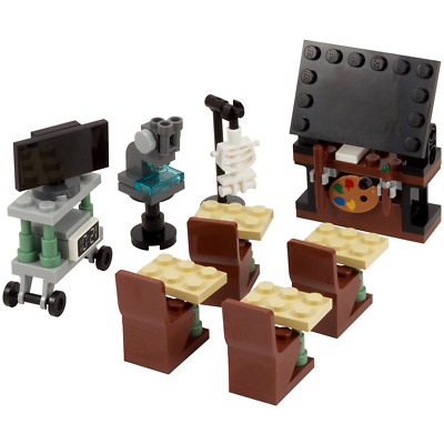 LEGO classroom - School blackboard, TV cabinet, Microscope, Skeleton & seats