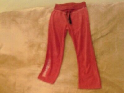 Girls 9-10 Years - Bright Pink Velour Joggers/ Trousers - Pineapple