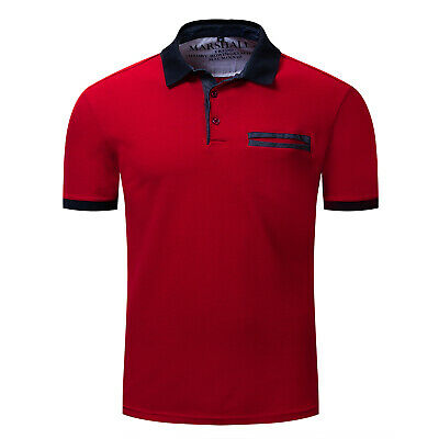 Men's Red and Navy collar Polo Shirt Short Sleeve Top Designer Golf TShirts D201