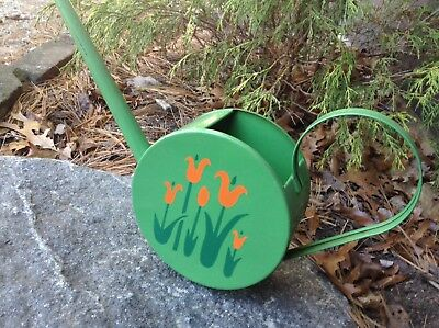 Antique Art Deco Metal Watering Can Hand Stenciled Stylized Tulips