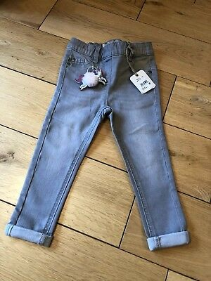 Girls Light Grey Jeggings From Next - Age 3