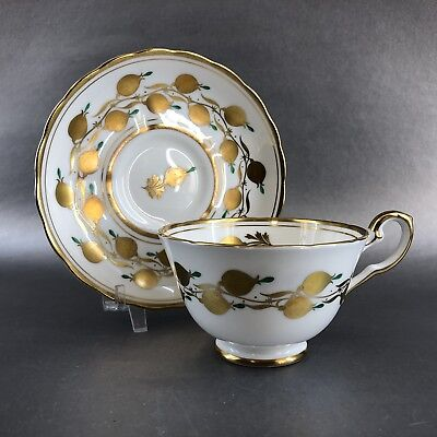 Royal Chelsea Teacup & Saucer Large Rimmed Golden Vintage England Bone China Tea