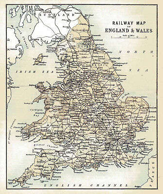 An enlarged map of The Railways of England & Wales, Original dated1882.