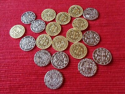 200 Metal Pirate Treasure Coin Assortment in 4 Muslin Cotton Pirate Cloth Bags