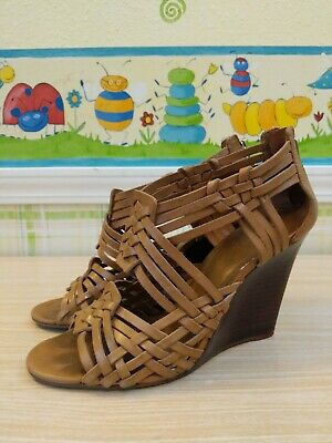 0ce451514 TORY BURCH Royal Tan TEVRAY woven leather Huarache Wedge sandals Womens 8.5  M