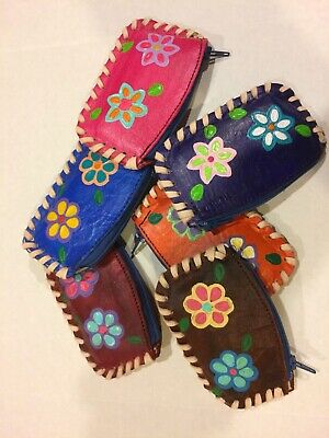 Mexican Leather Hand Tooled Zippered Coin Purse Wallet.
