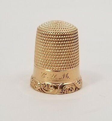 ANTIQUE 14K YELLOW GOLD THIMBLE VICTORIAN SCROLL WORK 4.7 grams