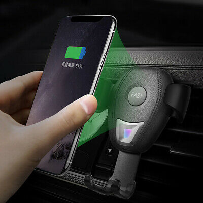 US 10W Qi Wireless Fast Car Charger Stand Mount Holder For iPhone X 8 Samsung S9