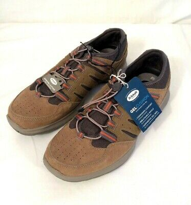 DR SCHOLL'S TRAIL SHOES Size 8.5 BUNGEE LACES TAN LEATHER  WALKING GEL CUSHION