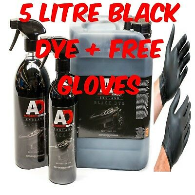 Autobrite Direct 5 Litre Black Dye Car Trim&carpet Upholstery Fabric Stain+Glove