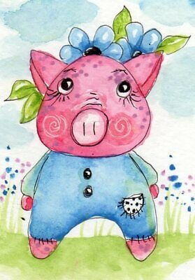 ACEO Original Painting Pig in PJs illustration Whimsical Art by FAiRyPiGGleS