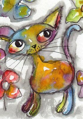 ACEO Original Painting Cat colorful illustration Whimsical Art by FAiRyPiGGleS