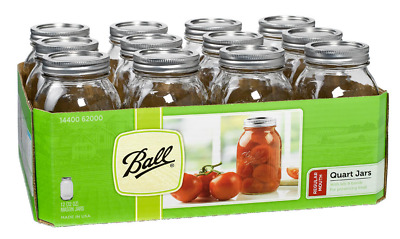 12 Pack Ball Quart (32oz) Mason Jars, Wide Mouth Glass with Zinc Lid Cap