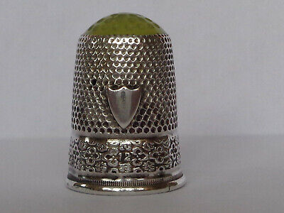 Nice Old Vintage or Antique Silver Stone Top Thimble possibly German