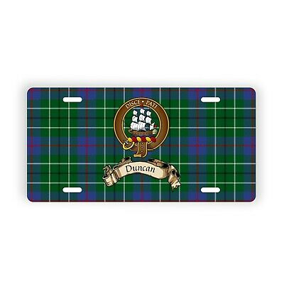 "Duncan Scottish Clan Tartan Auto Plate 6"" x 12"" with Crest and Motto"