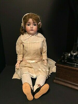 "Antique 32"" Kestner Doll  N 17- 166 Bisque With Leather Body Made In Germany"