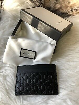 4e0c208f7dc NWT AUTHENTIC Gucci Unisex GG Card Holder Wallet In Black Embossed Leather