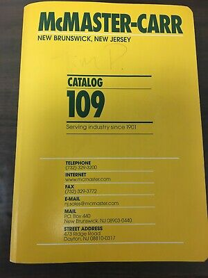 McMaster-Carr Catalog 109 New Brunswick New Jersey Very Good Condition,Free Ship
