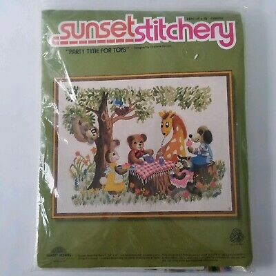 "Sunset Stitchery Party Time For Toys Animals Crewel Kit 14"" X 18"" Picnic New"