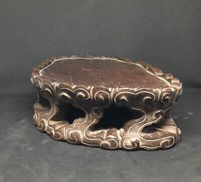 Ancien Socle Support Chinois En Bois Sculpté Chinese Wood Carved