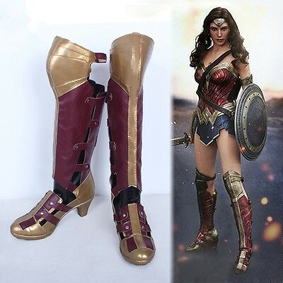 Superhero Wonder Woman Diana Prince Over knee Red Boots Cosplay Shoes Custom