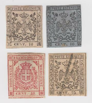 Italian States Modena Mint No Gum #2 Off Color, PR4, 13 and Used #4