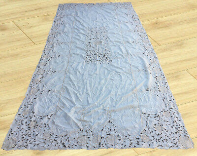 Vintage European Hand Crochet & Embroidered Tablecloth 6 x 12 Ft