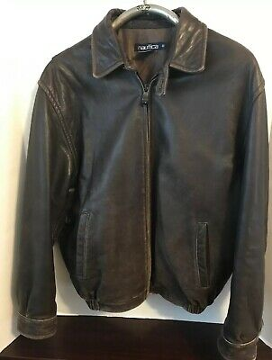 NAUTICA Men's Brown BUTTERY SOFT Distressed Leather Bomber Jacket Size 40