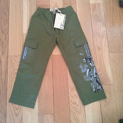 BNWT 100% Auth John Galliano Boys Green Trousers With Logo. 4 Yrs RRP £140
