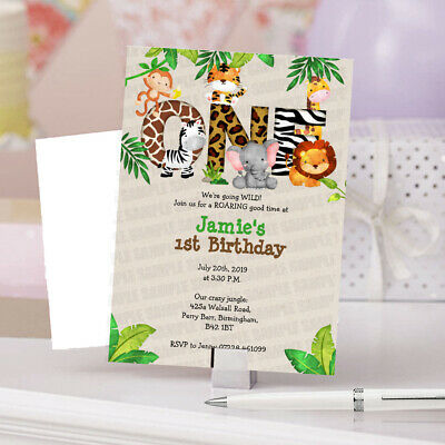 PERSONALISED ZOO ANIMALS FIRST Birthday Party Invitations Card Boys Girls 1st