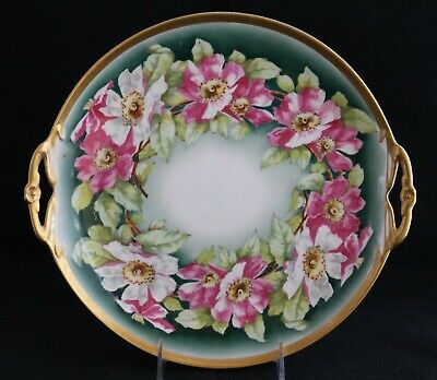 Antique Limoges France Coronet Hand Painted Flowers Cake Plate Handled Gold Rim