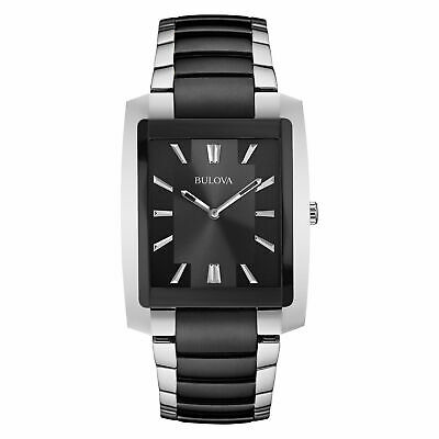 Men's Bulova Two-Tone Watch with Black Rectangle Dial (Model: 98A117)