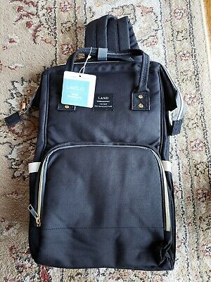 New LAND Mommy Baby Diaper Bag Backpack Baby Nappy Tote Bag Black