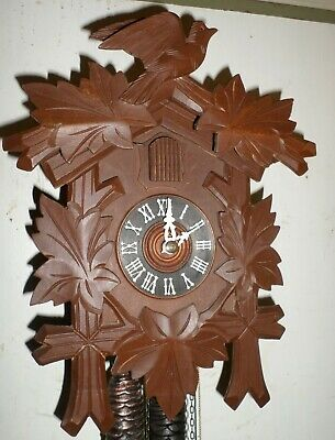 Nice Old Working German Black Forest Traditional Hand Carved Cuckoo Clock!
