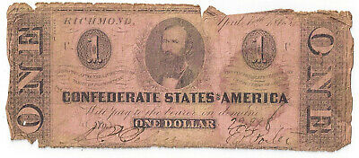 1863 Confederate States of America One Dollar Note T62