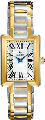 Ladies' Bulova Two-Tone Watch with Rectangle Mother-of-Pearl Dial-Model: 98L157