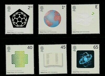 Gb 2001 Nobel Prizes Mnh Set Of 6 Stamps