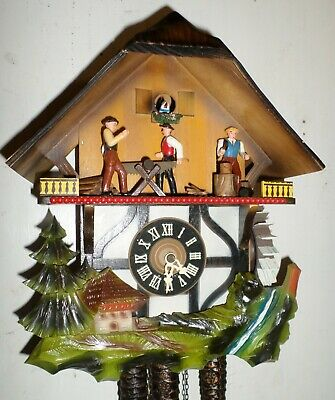 Very Nice German Musical Animated Woodchopper Black Forest Saw Mill Cuckoo Clock