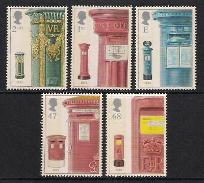 Gb 2002 Post Boxes Set Of 5 Mnh Stamps