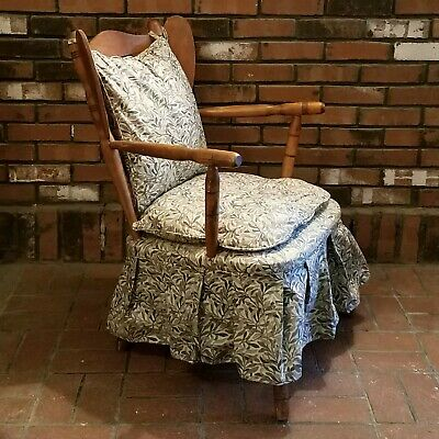 Vintage Wooden Platform Rocker Rocking Chair Fabric Cushion Wingback Pick-up NY