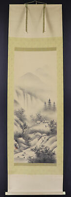 JAPANESE HANGING SCROLL ART Painting Scenery Asian antique  #E6239