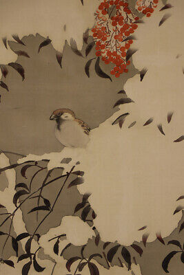 """JAPANESE HANGING SCROLL ART Painting """"Sparrow"""" Asian antique  #E6215"""