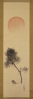 """JAPANESE HANGING SCROLL ART Painting """"Bird and Sun"""" Asian antique  #E6223"""